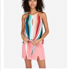 Express Striped Tie Front High Neck Tank Top XS
